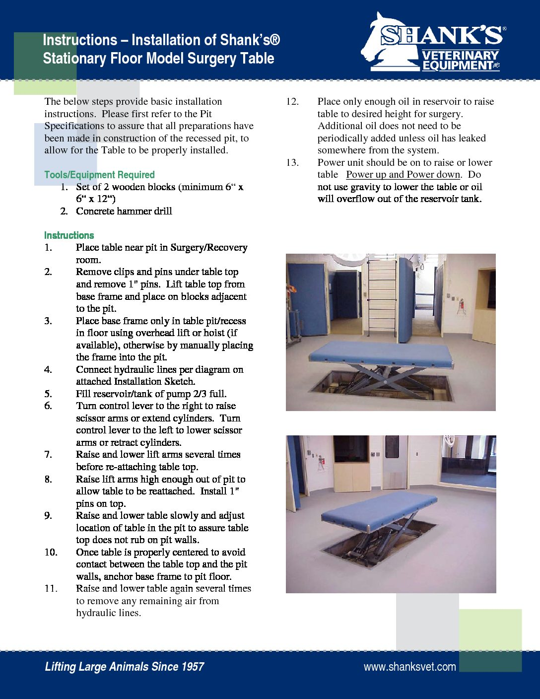 Instructions Install Stationary Table