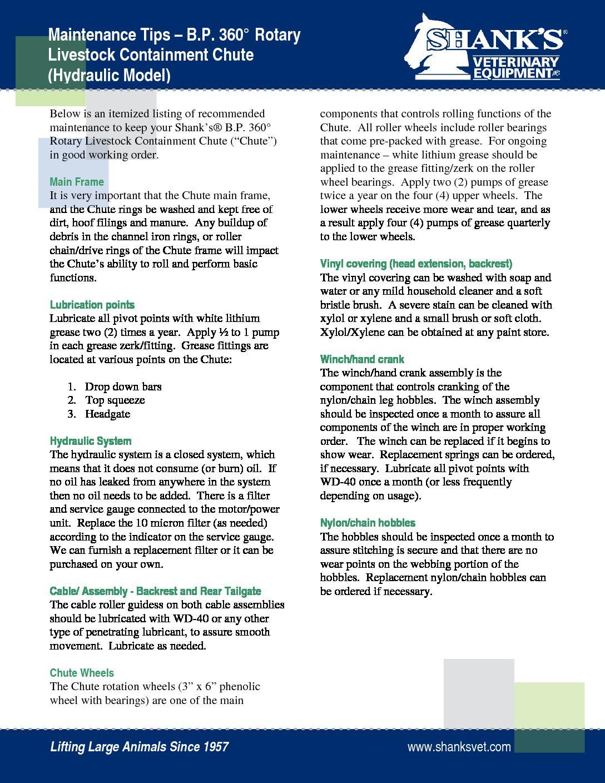 Maintenance BP Hydraulic Chute
