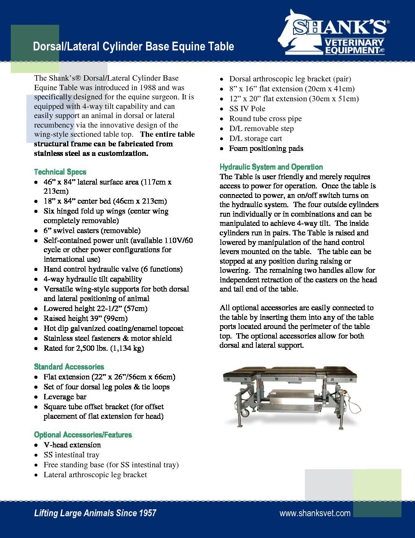 Tech Sheet Dorsal/Lateral Cylinder