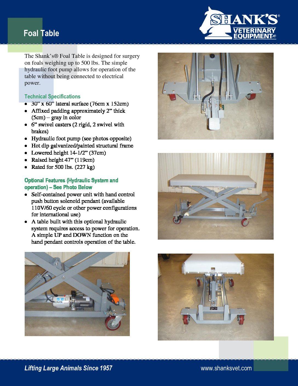 Tech Sheet Foal Table